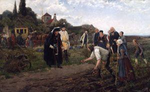 Frederick II ispeziona la coltivazione di patate durante una delle sue campagne di ispezione