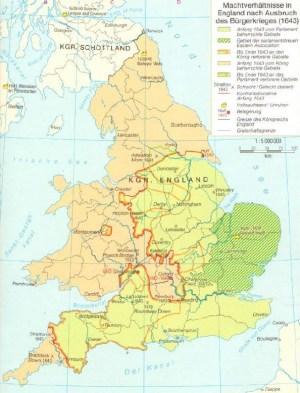 Relazioni di potere in Inghilterra dopo lo scoppio della guerra civile nel 1643
