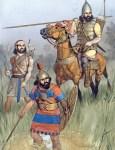 Assyrische Krieger in seiner typischen Tracht