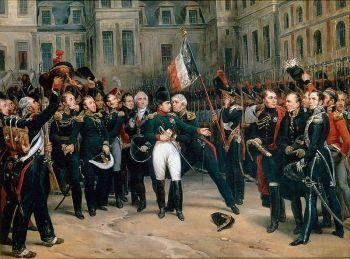 Napoleons Abschied von der Kaiserlichen Garde in Fontainebleau (Gemälde von Antoine Alphonse Montfort)