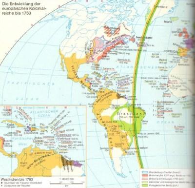 Карта Южную Америку в конце 18-ого века