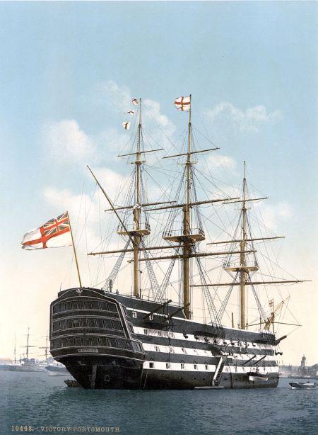 Die HMS Victory um 1900 in Portsmouth