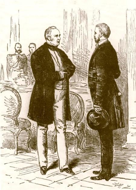 Bismarck (rechts) und König Friedrich Wilhelm IV. 1848 (Zeichnung von Hermann Lüders)