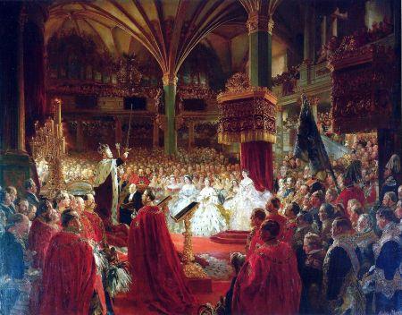 Die Krönung Wilhelms I. zu Königsberg 1861, Gemälde von Adolph Menzel, 1865