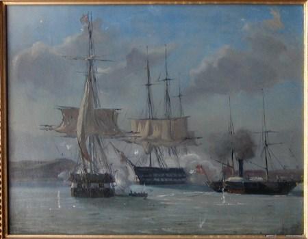 Die Schlepptrosse zwischen Gefion und Geiser wird zerschossen. Gemälde von Wilhelm Petersen