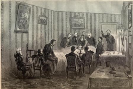 Lincoln auf seinem Totenbett, Harper's Weekly, 1865