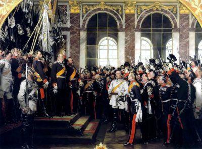 德国帝国宣言(1871年1月18日)在凡尔赛宫的镜厅,18世纪80年代安东·冯·沃纳的历史绘画