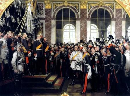 Die Proklamierung des deutschen Kaiserreiches (18. Januar 1871) im Spiegelsaal von Schloss Versailles, Historiengemälde von Anton von Werner aus den 1880er-Jahren