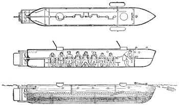 Aufriss der CSS Hunley