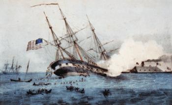 Die CSS Virginia rammt die USS Cumberland