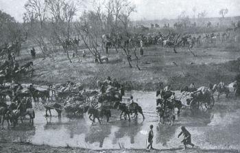 El ejército ruso en la retirada después de la batalla de Mukden