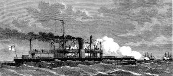 El buque blindado SMS Arminius del norte de Alemania en batalla con los buques blindados franceses frente al estuario del Weser el 24 de agosto de 1870