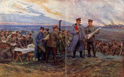 1914年8月29日,保罗·冯·兴登堡和他在坦能堡战役中的亲密工作人员