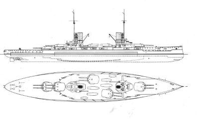 Vue latérale du SMS König Albert