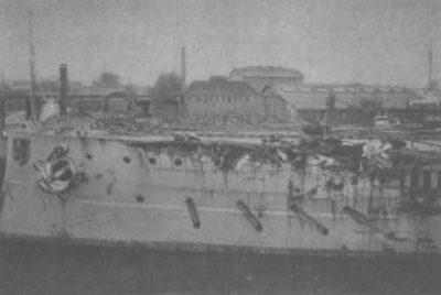 Danni a Nassau dopo la collisione con l'HMS Spitfire