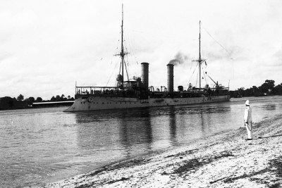 Small cruiser SMS Thetis in the port of Dar es Salaam, German East Africa