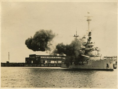 SMS Schleswig-Holstein firing at the Westerplatte