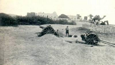 Ordnance britannique QF 15 livres à Sheik Othman pendant la Première Guerre mondiale