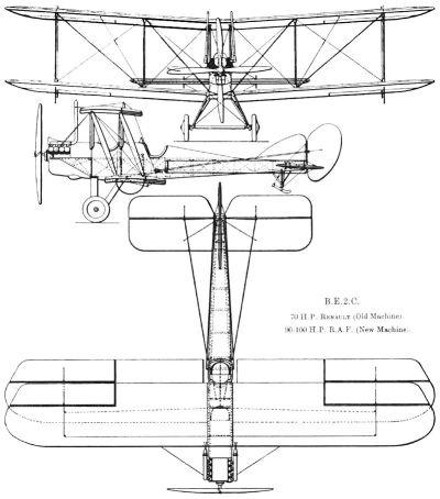 Disegno di una Royal Aircraft Factory B.E.2c