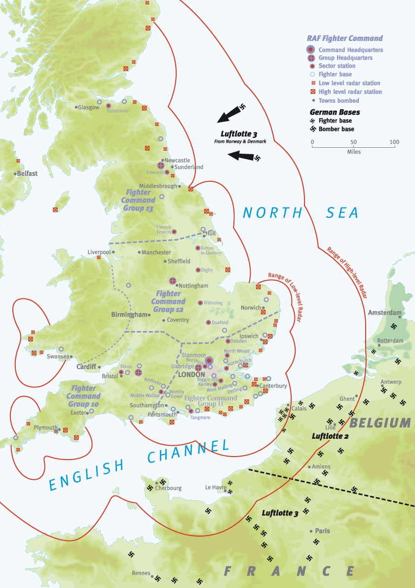 Map Of England During Ww2.Battle Of Britain Map An Overview Military History Matters