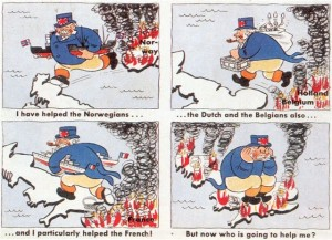 An anonymous German wartime propaganda postcard showing John Bull stealing from his allies.