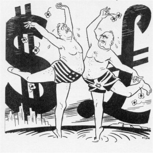 "Fips' drawing for Der Stűrmer (4 September 1941) has US President Roosevelt and Churchill dancing strenuously in the middle of the Atlantic  in front of huge dollar and pound signs (note the Star of David on Churchill's Union Jack swimming trunks). The caption reads: 'A little while ago Churchill and Mister Roosevelt played at charades. They impersonated ""Sirens Bringing Happiness to All the World"" and made complete fools of themselves.'"
