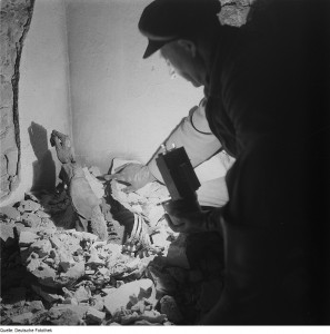 A body discovered in an air raid shelter in Dresden after the war. At the time of the bombing, foreign slave labourers were forced to hunt for corpses amid the rubble of the destroyed city.