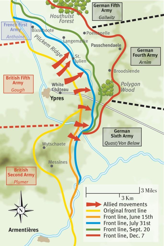 Map showing troop movements around Passchendaele, 1917.