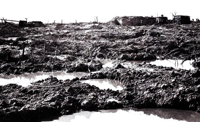 The sodden 'crater-field' at Passchendaele.