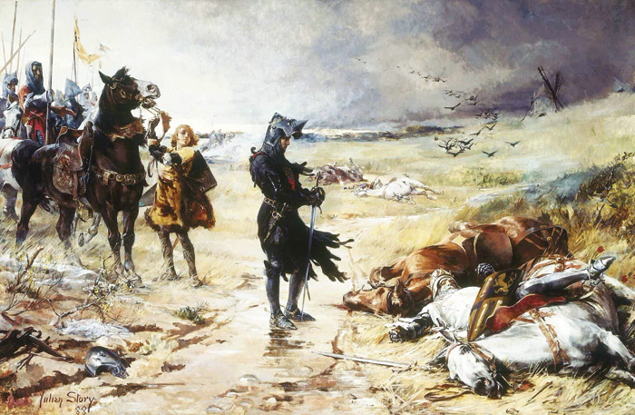 Edward the Black Prince pays his respects to the corpse of John the Blind after the Battle of Crécy. Image: Wikimedia Commons