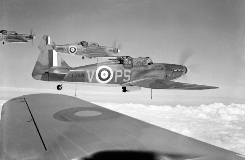Royal Air Force Boulton Paul Defiant Mk Is of 264 Squadron, RAF Lincolnshire, August 1940.