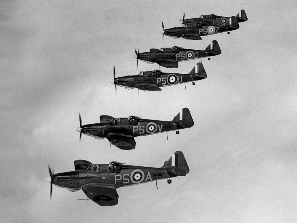 Boulton Paul Defiant Mk IIs flying in formation.