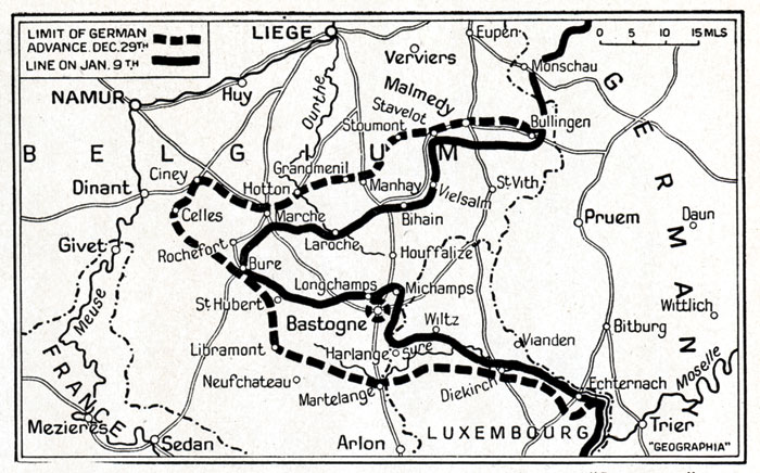 A contemporary map showing the extent of the German penetration during the Ardennes Offensive.