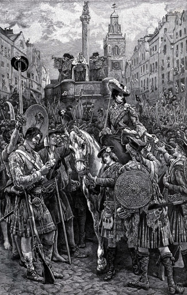The Old Pretender is proclaimed King James III at Edinburgh Cross after the Jacobites capture the city in September 1745.