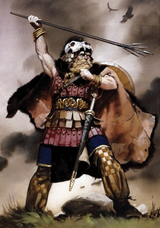 Colour depiction of the mythic Irish hero Cuchulainn, the subject of Irish sagas.
