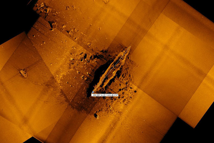 A sonar image of the Akagi, sunk at Midway in 1942. Photos: Vulcan Inc.