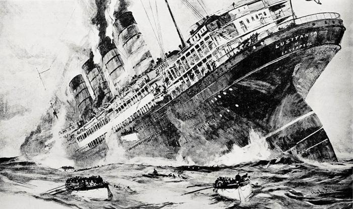The Lusitania sinks, 1915. Image: Anthony Richards/Anthony Richards' collection