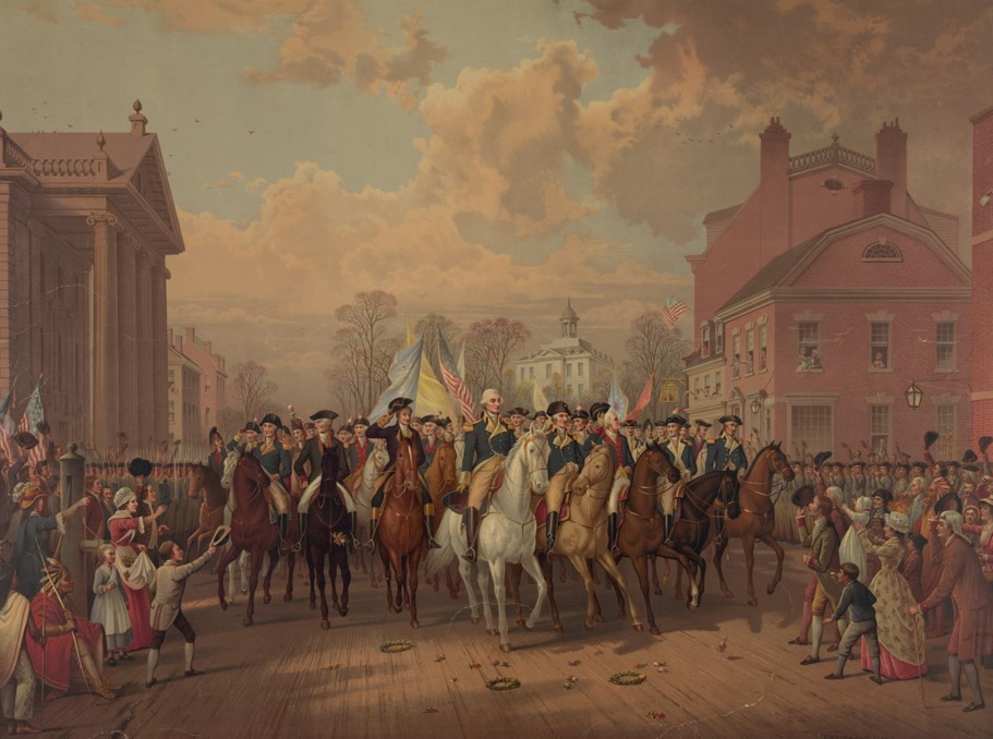 Washington's Triumphal Entry into New York City on 25 November 1783. Detail from a lithograph by EP & L Restein. Credit: Library of Congress
