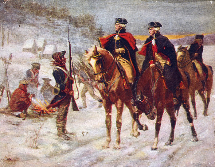 Washington at Valley Forge, where he held his ragged, demoralised army together through the harshest of winters in 1777/1778. Merely to endure is always a victory for a people's army.