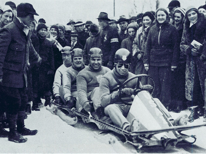 Billy Fiske drives the bobsleigh that won his four-man team a gold medal for the United States at the 1932 Olympic Games in Lake Placid, New York.