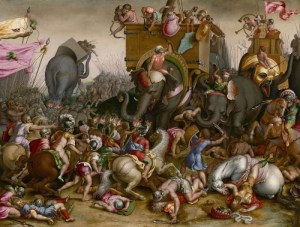 Zama---The-Battle-of-Zama,-202-BC.-Detail-from-a-painting-by-Cornelis-Cort,-c.1567.