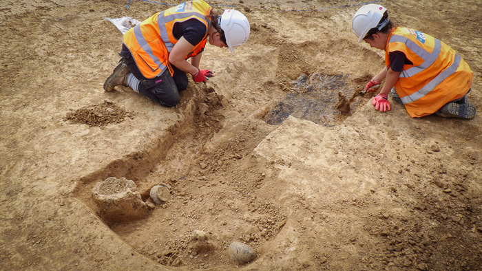 The grave during excavation outside Walberton, Chichester. It is thought to belong to a warrior buried 2,000 years ago. Image: Archaeology South-East.