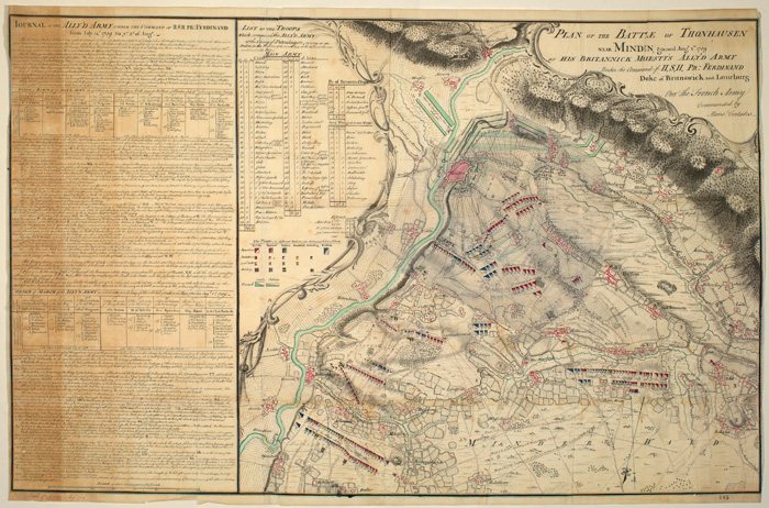 Map of the Battle of Minden, part of the Seven Years War, 1759.   Image: Royal Collection Trust.
