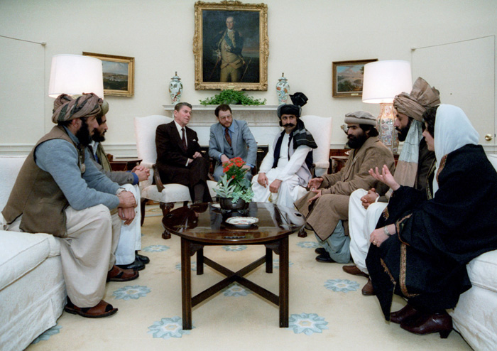 President Reagan meeting members of the mujahideen in the Oval Office in 1983. The Americans aided the Afghan guerrilla insurgents to defeat the Soviet invasion, although many elements later morphed into the Taliban and al-Qaeda.