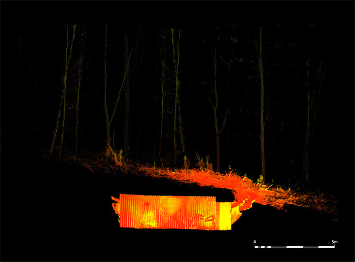 This laser-scan shows the bunker's location just below ground-level in Craigielands Forest.