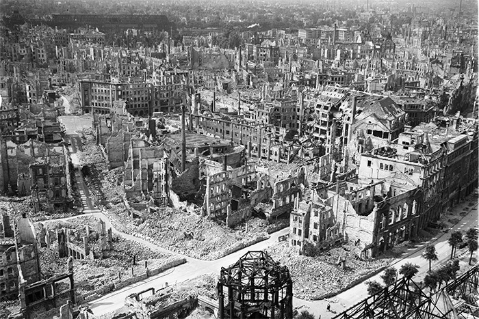 Caption: The ruins of Dresden following the Allied bombing in February 1945. Around 25,000 people were killed.