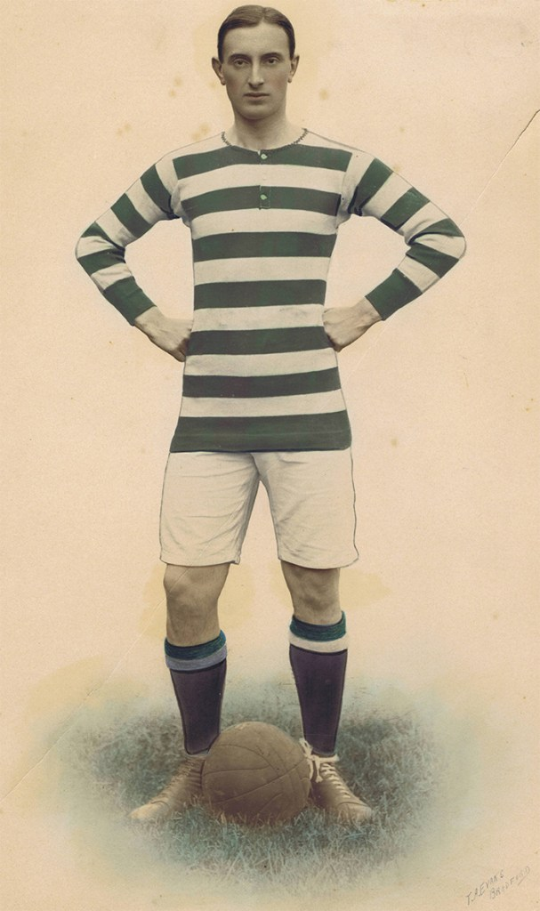 Bell in football kit. He played professionally until the First World War broke out.