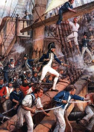 One of the giants in an age of giants: Nelson, here seen boarding the San Nicolas during the Battle of Cape St Vincent in 1797, brought the British way of war at sea to a peak of perfection.