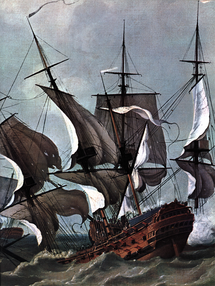 The French man-o'-war Thésée attempting to manoeuvre during the battle.