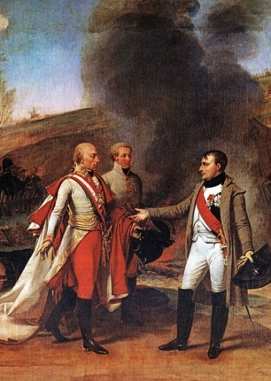 Napoleon receives the surrender of the Austrian Emperor Francis II after the Battle of Austerlitz.